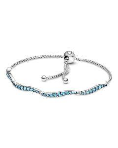 Pandora Blue Wavy Slider -armband 599436C01