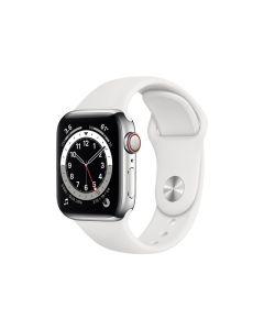 Apple Watch Series 6 (GPS + Cellular) 40mm silver stålskal / vitt sportarmband M06T3KS/A